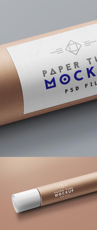 Paper Tube Packaging Mockup PSD MockUp