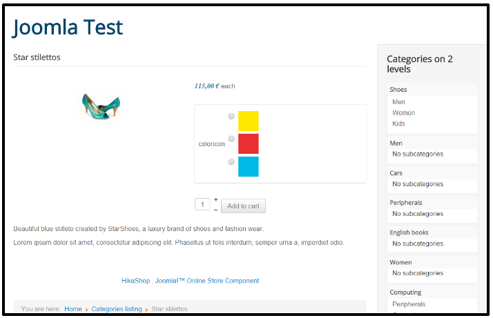 How to display color in the product page by customize the