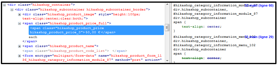 CSS Edition in HikaShop
