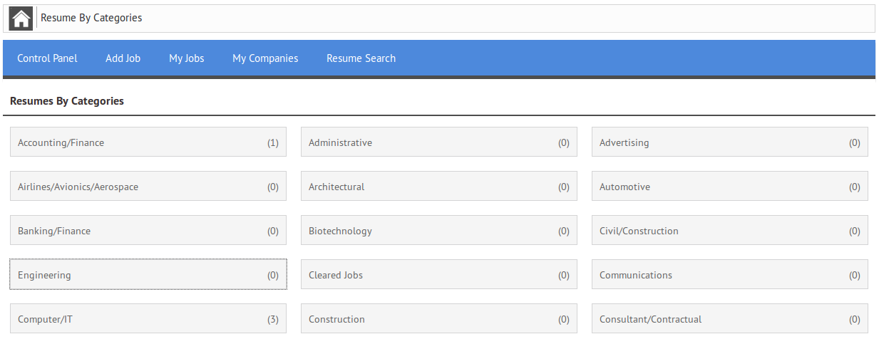 list of all the categories which are in the system and show a count of resumes next to the category name