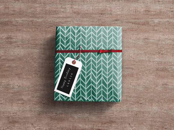 Gift Wrap Free Box PSD Mockup