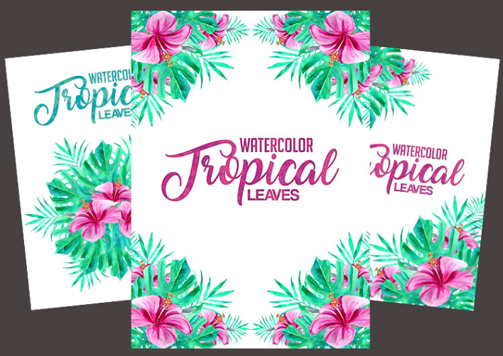 FREE Watercolor Tropical Leaves PSD Template