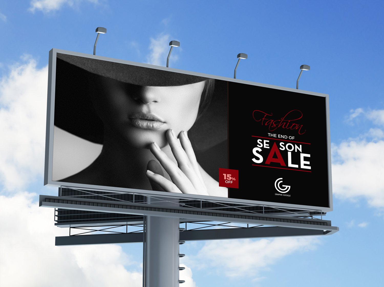 Outdoor Advertisement Hoarding – Billboard Free MockUp