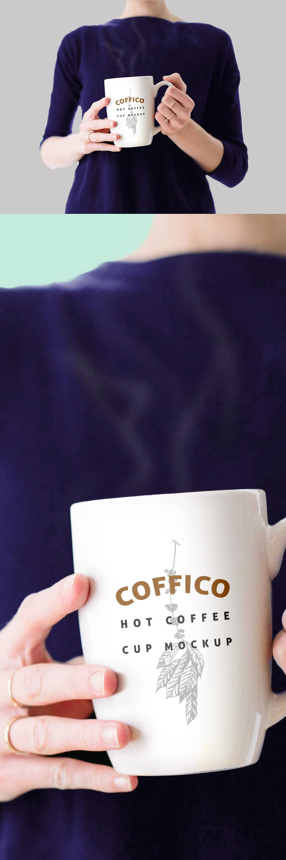 Woman Holding Coffee Mug PSD Mockup Template