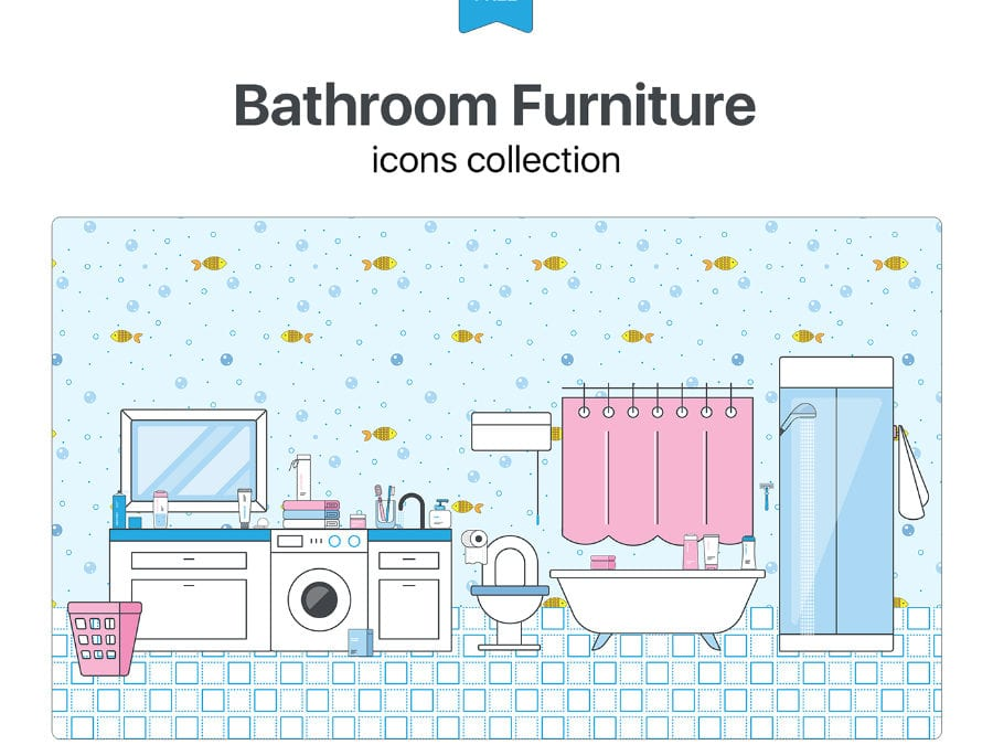 Collection Of Bathroom Free Furniture Icons