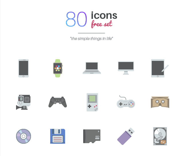 Set Of 80 Free Color Icons