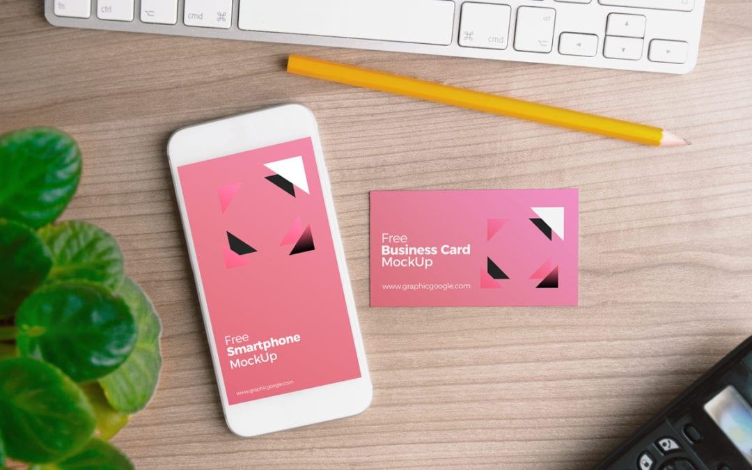 Smartphone With Business Card Free MockUp PSD