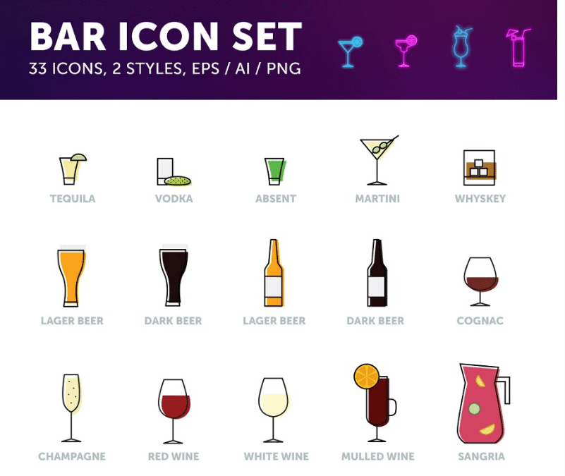 Set Of Bar Drinks Free Vector Icons