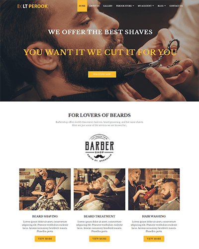 LT Perook Single Page – Free Barber Shop WordPress Theme