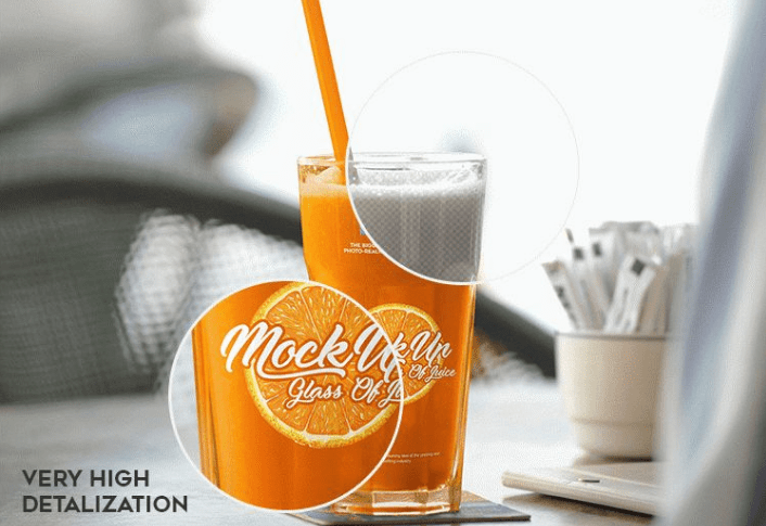 Glass Of Juice Free Mockup PSD Template