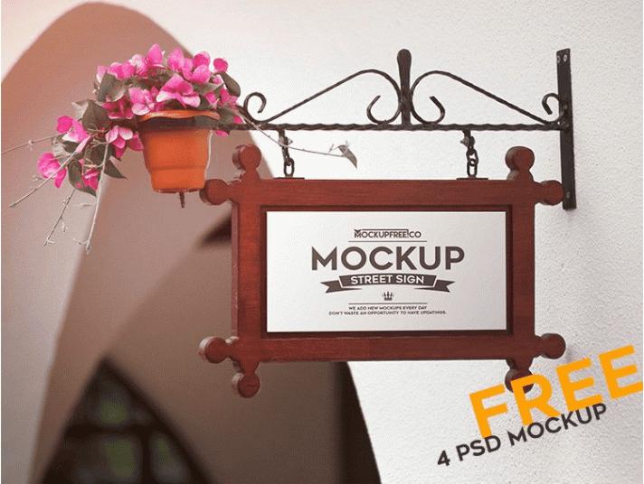Street Sign PSD Free MockUps