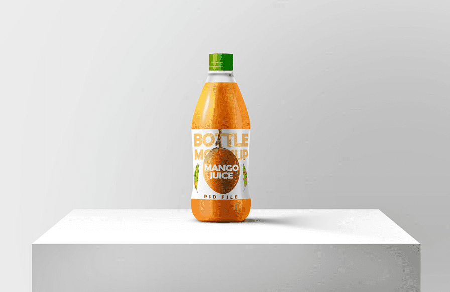 Juice Bottle Mockup Free PSD Template