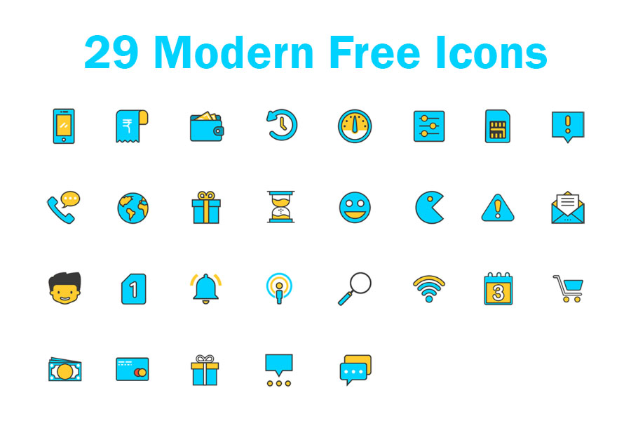 Set Of 29 Sketch Free Icons