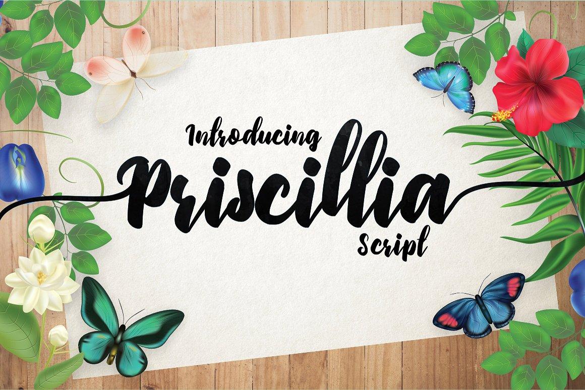 Priscillia Free Script Typeface
