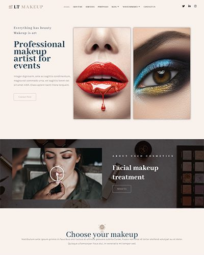 LT Makeup Single Page – Free Beauty Salon WordPress Theme