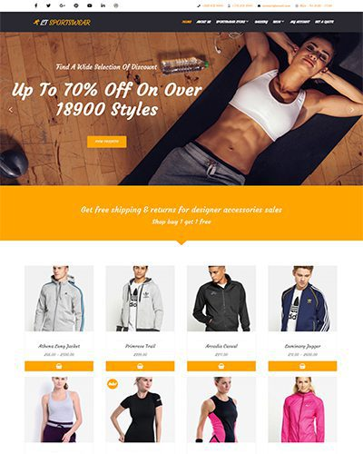 LT Sportswear Single Page – Free Sportswear WordPress Theme
