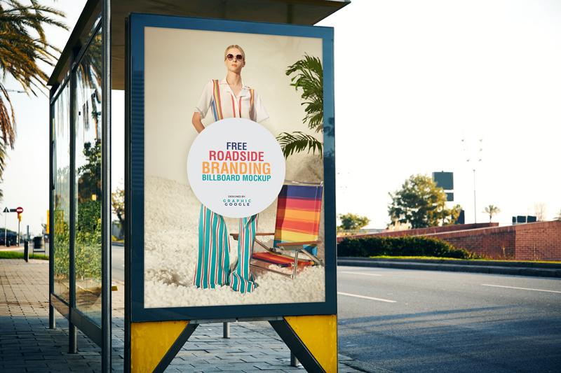 Roadside Branding Billboard Free Mockup PSD