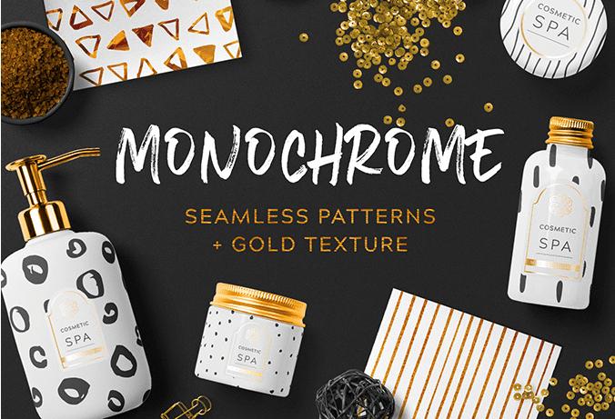 Set Of Free Monochrome Seamless Patterns