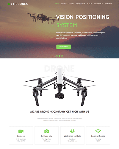 LT Drones Single Page – Free Responsive One page Drone WordPress Theme