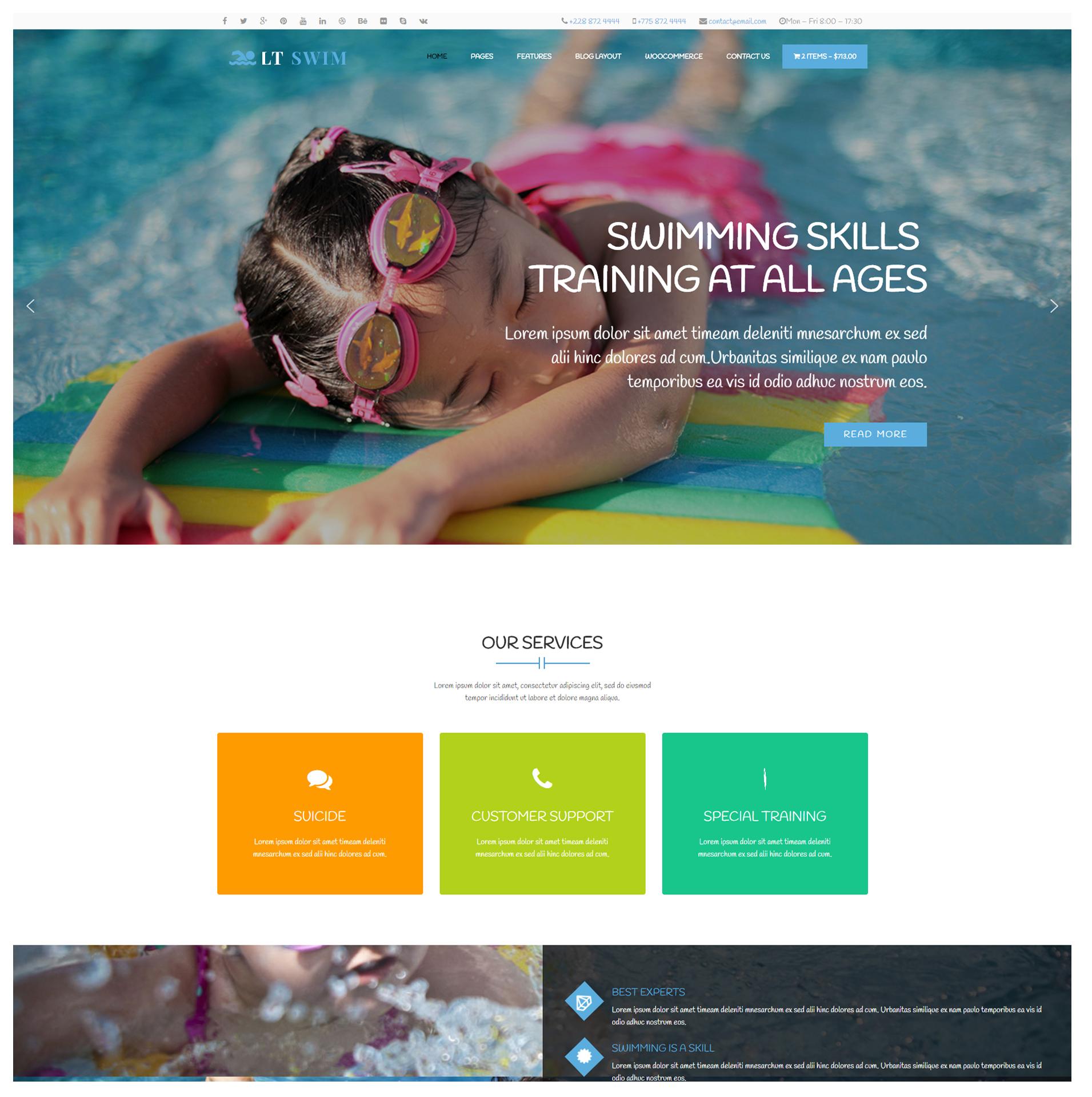 LT Swim – Free Responsive Wordpress Swimming theme