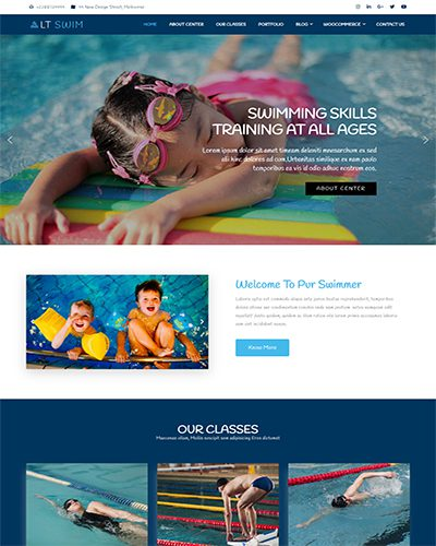 LT Swim Onepage – Free swimming school wordpress theme