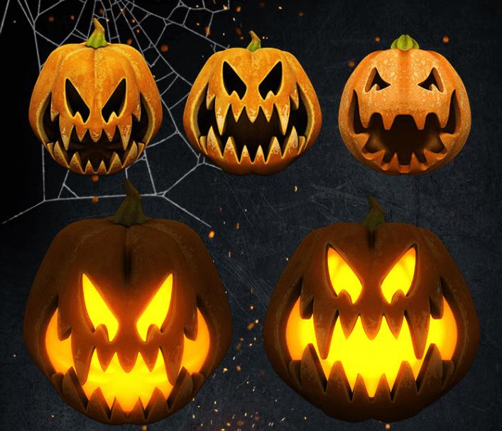 Halloween Pumkin 3D PSD MockUp