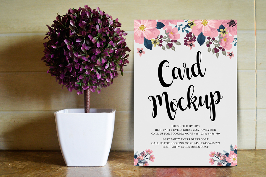 Floral Card Free PSD MockUp Template
