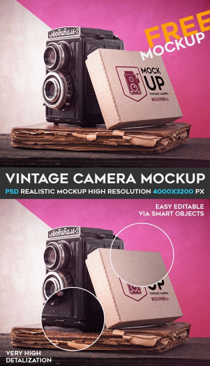 Vintage Camera MockUp PSD Free Template