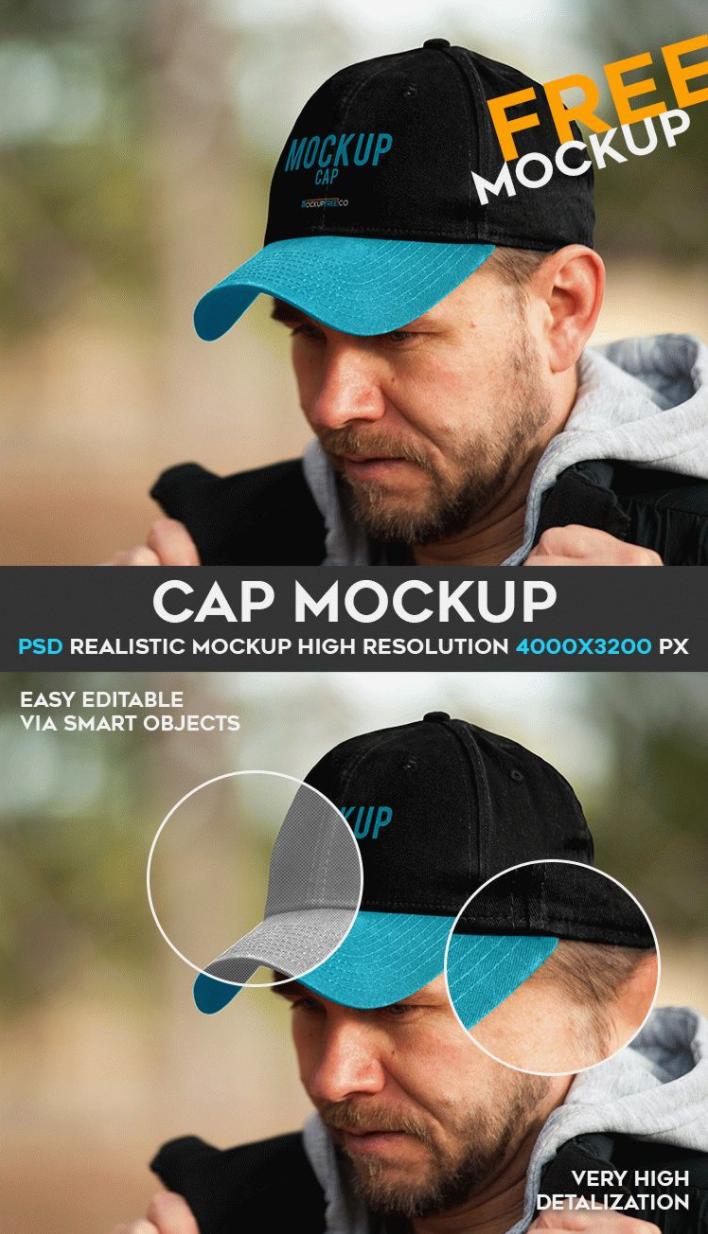 Free Cap Mockup PSD Template