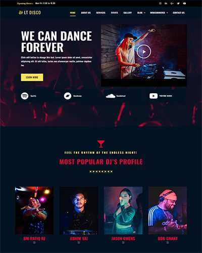 LT Disco – Free Responsive music wordpress theme