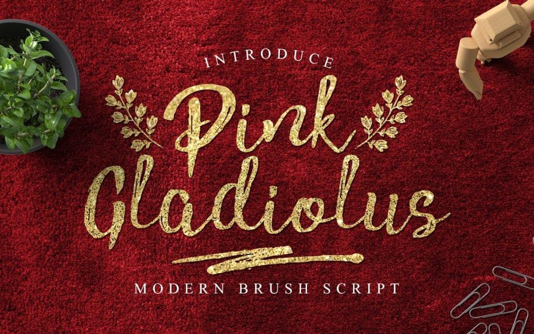 Pink Gladiolus Brush Script Typeface
