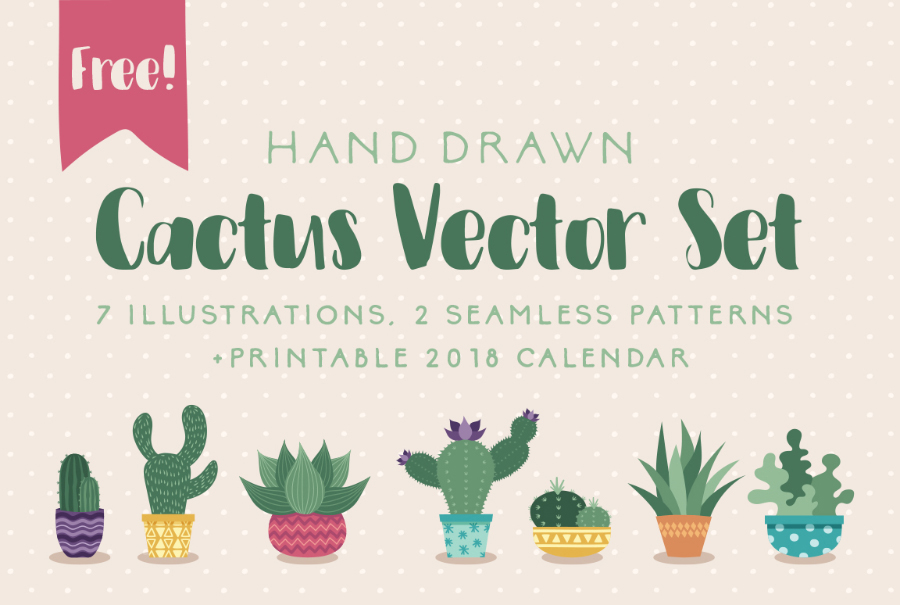Set Of Free Handdrawn Cactus Vector