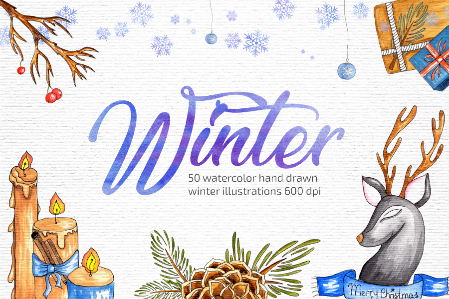 Winter Illustration (Watercolor style)