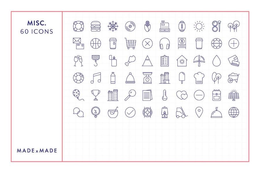 Miscellaneous Linear Icons Collection