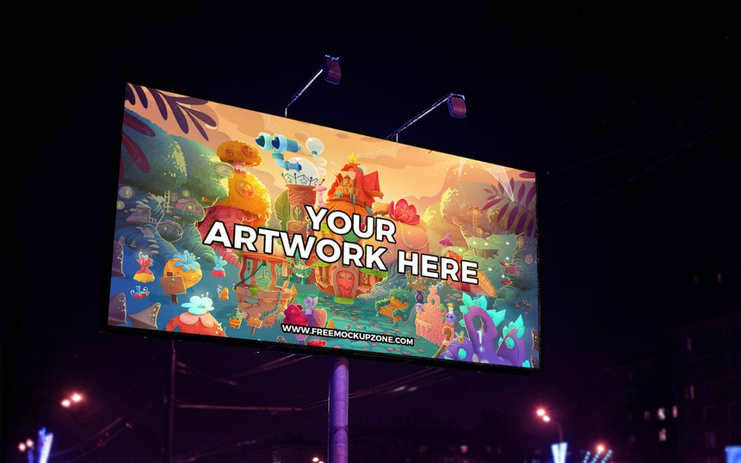 night scene outdoor billboard mockup psd template responsive