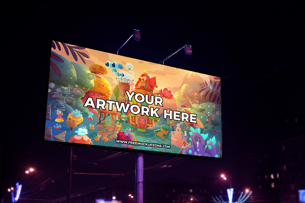 Night Scene Outdoor Billboard Mockup PSD Template