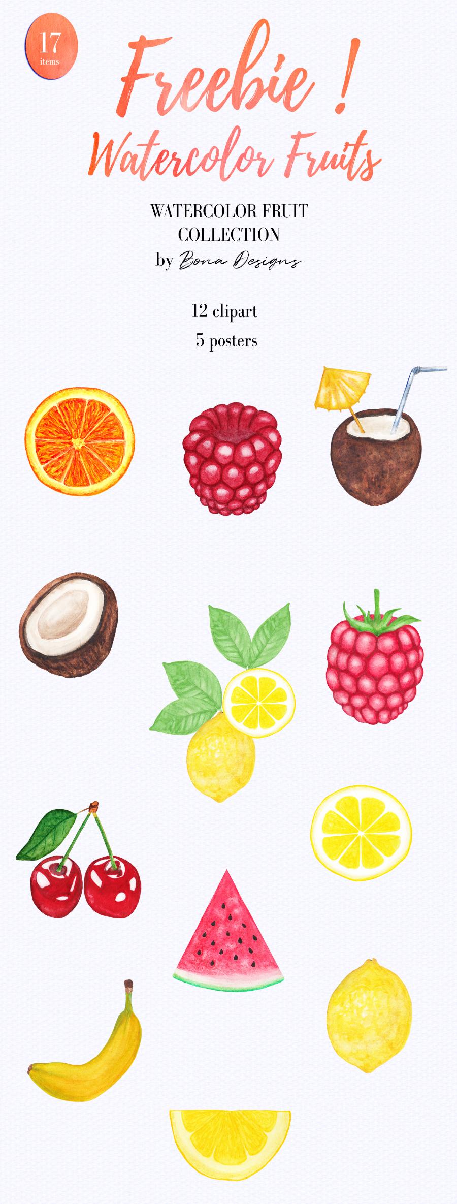 Set Of 12 Free Watercolor Fruit