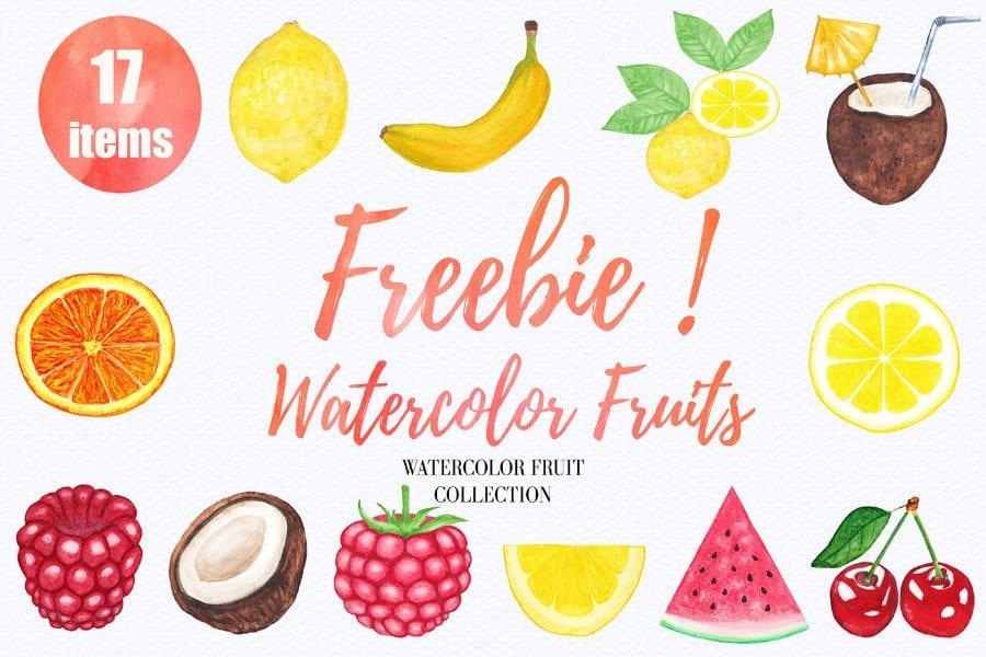 Set Of 12 Free Watercolor Fruit