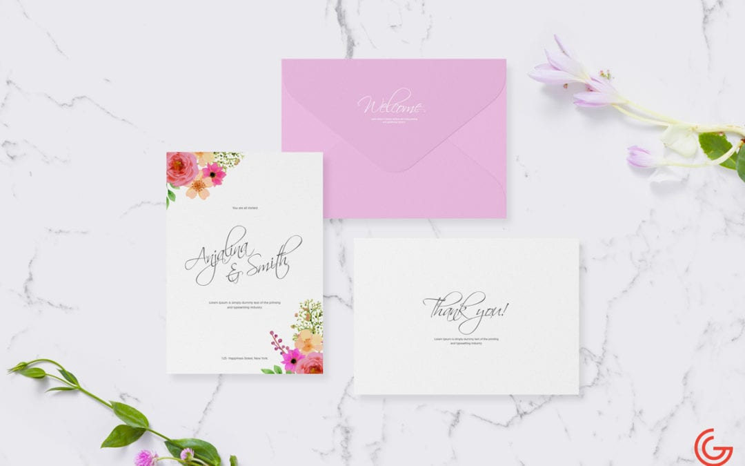 Wedding & Greetings Invitation Card PSD MockUp