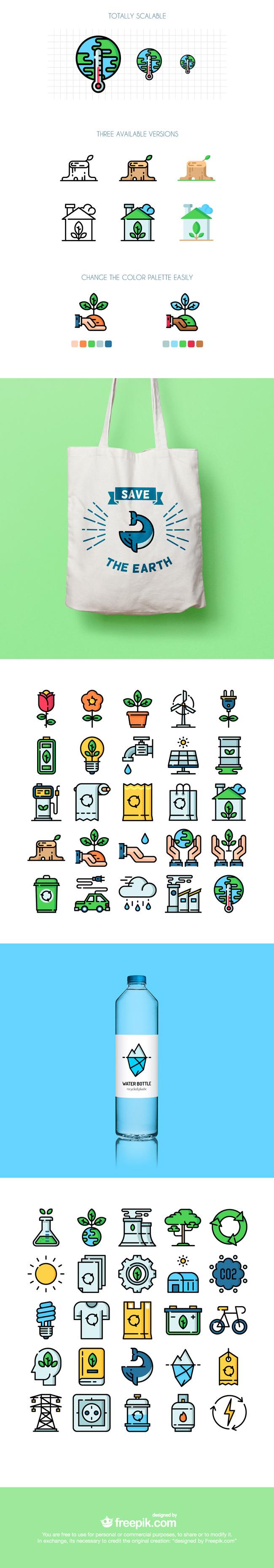 Set Of 50 Free Ecology Icons