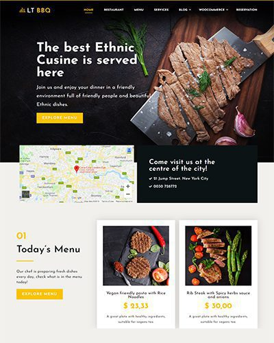 LT BBQ Single Page – Free restaurant wordpress theme