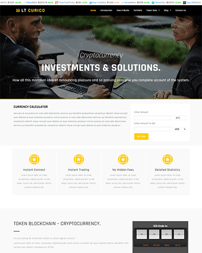 LT Curico Single Page – Free Responsive One page Bitcoin WordPress theme