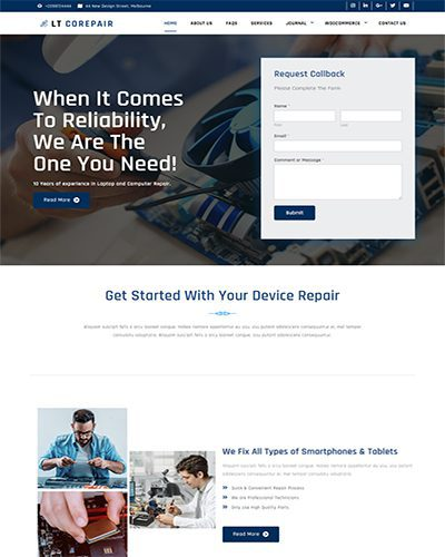 LT CoRepair Single Page – Free computer and cellphone repair services wordpress theme