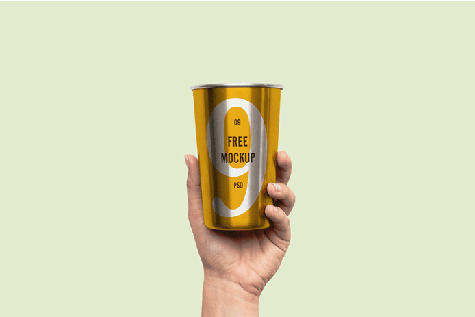 Free Hand Holding Cup PSD Mockup