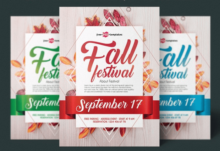Autumn Fall Festival Flyer PSD Mockup