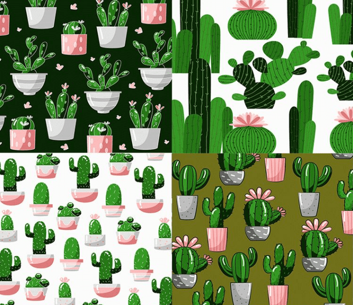 Set Of Free Cactus Pattern