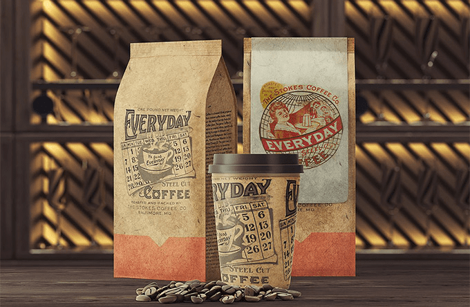 Set Of Free Coffee Packaging Mockup