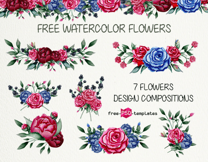 Set Of Free Watercolor Flowers Elements