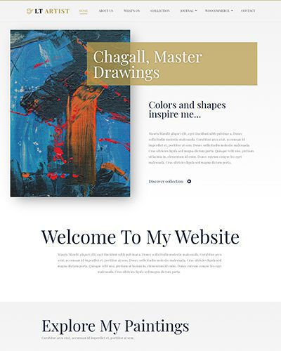 LT Artist Single Page – Free One page artist website template