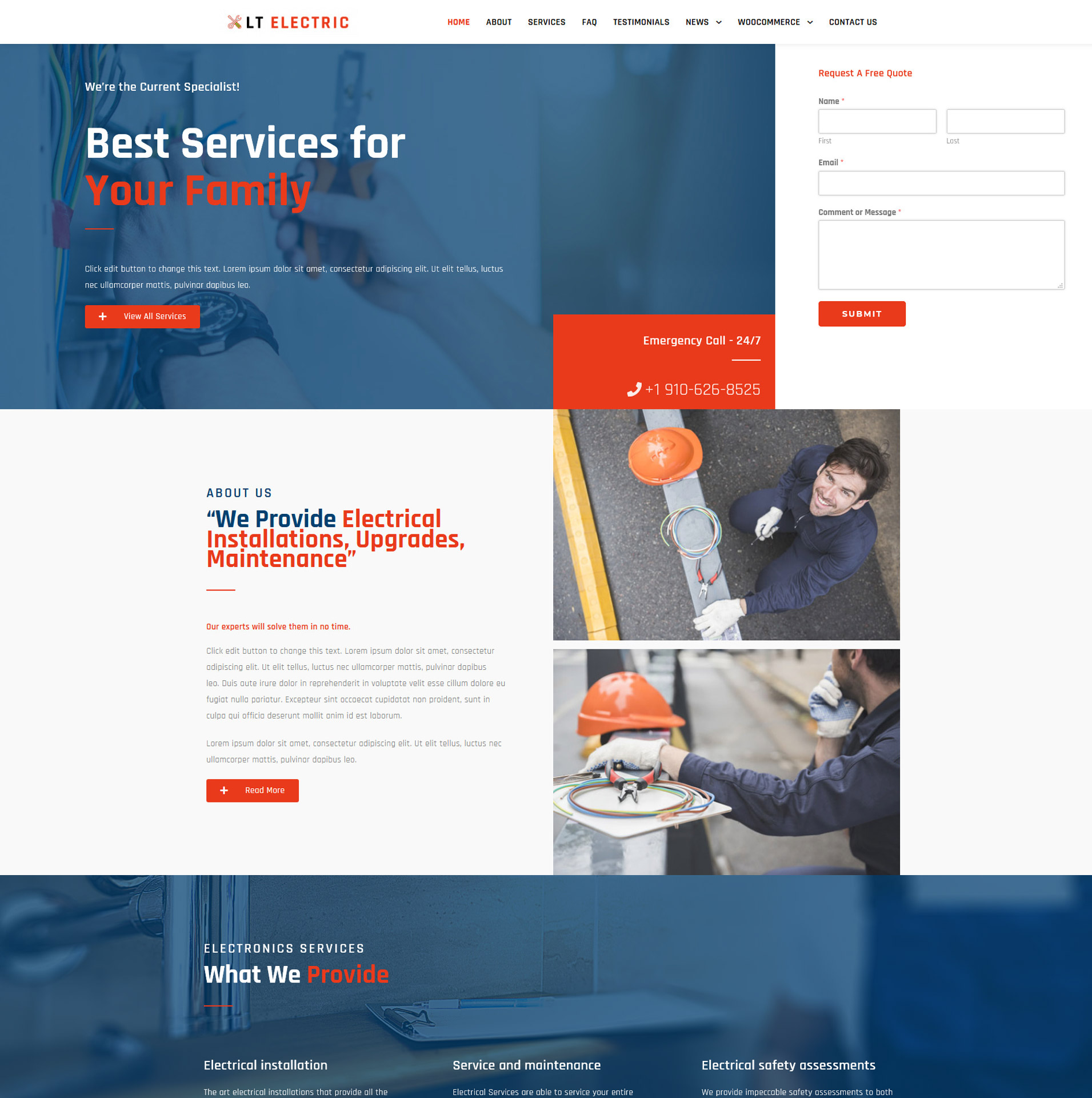 LT Electric – WordPress Electrical / Business theme